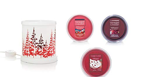 - Yankee Candle Winter Trees Collection w/LED & Timer Scenterpiece Gift Set with a Christmas Eve, Sweet Fig & Pomegranate, and a Merry Berry Linzer Meltcups