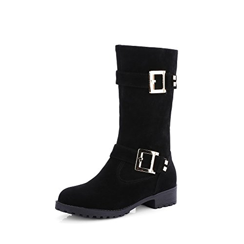 Solid Heels Suede Black Imitated Zipper Low Top AmoonyFashion Women's Mid Boots Aq8EqXaw