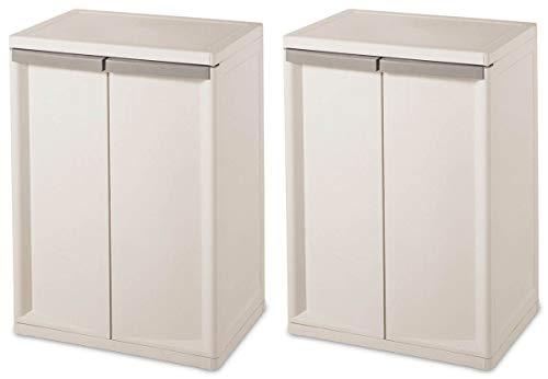 Sterilite 01403V01 Flat White Heavy Duty 2 Shelf Cabinet