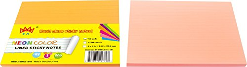 4A  Sticky Notes,6 x 8 Inches,Large Size,Neon Orange&Pink,Lined,Self-Stick Notes,100 Sheets/Pad,2 Pads/Pack,4A 608 ()