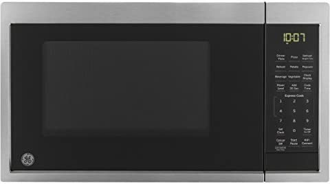 GE JES1097SMSS 0.9 Cu. Ft. Capacity Smart Countertop Microwave Oven with Scan-To-Cook Technology, WiFi Connect, Convenience Cooking Controls, and Auto and Time Defrost, in Stainless Steel