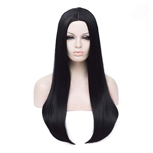 "Long Black Wig | Qaccf 26"" Women's Long Straight"