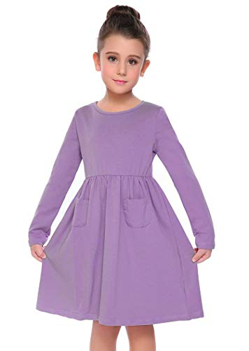 72d70a096b0 Arshiner Little Girls Dress Long Sleeve Solid Color Casual Skater ...