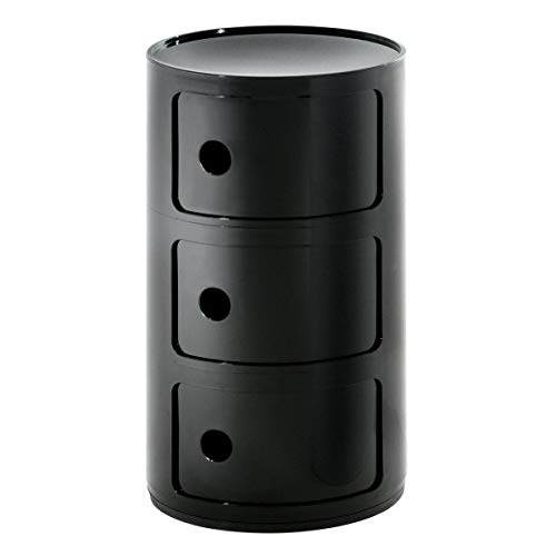 Kartell Componibili Plastic Stackable Round Triple Drawers, Opaque Black