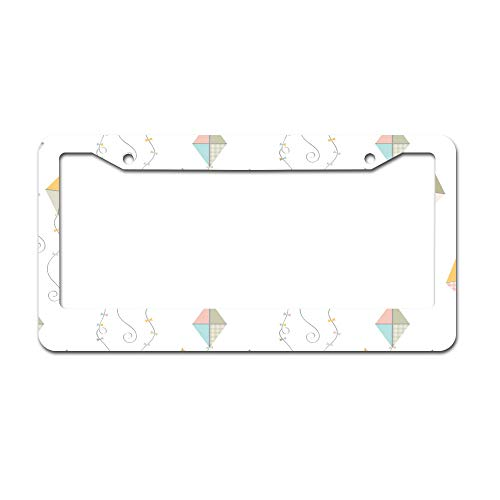 DKISEE Abstract Kite Pastel License Plate Frame Aluminum Car License Plate Covers with 2 Holes 12