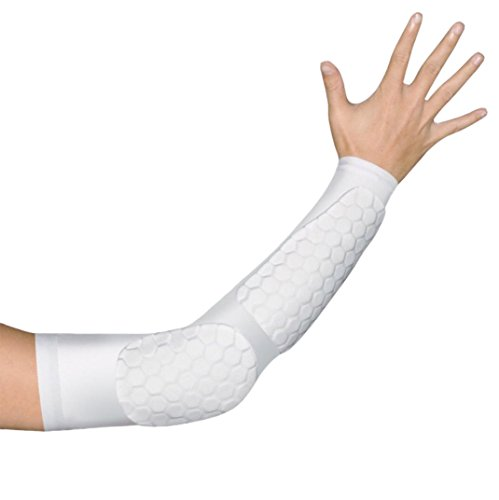 Zoom Time Double Honeycomb Arm Shooting Sleeve Reachs Elbow Brace Support Elbow Sleeve for Sport Workout Protective Gear for Basketball Football Skateboard Cycling Parkour Outdoor Sports(White 1pc) (Forearm Sleeve Protective)