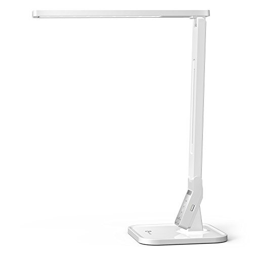 TaoTronics TT-DL02 4 Lighting Mode 5-Level Dimmable Led Desk Lamp, 5V/1A USB Charging Port, Piano White
