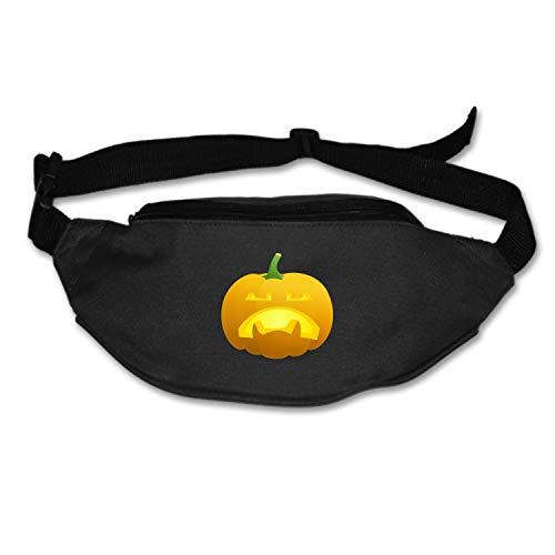 Pumpkin Face Unhappy Sad Carved Lantern Halloween Waist Pack - Standard, Black,Blue, One Size]()