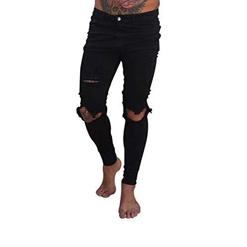 Skinny Slim Uomo Denim Da Con Stretch Dunkelblau Fit Pantaloni Vestibilità Jeans Destrutturati Strappati Casual vAzqSgw