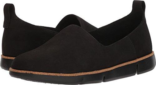 CLARKS Womens Tri Curve Slip-On, Black Nubuck, Size (Clarks Walking Shoes)