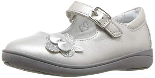 Stride Rite Girls' SR AVA Mary Jane Flat, Silver, 6 M US Toddler (Silver Shoes For Flower Girl)