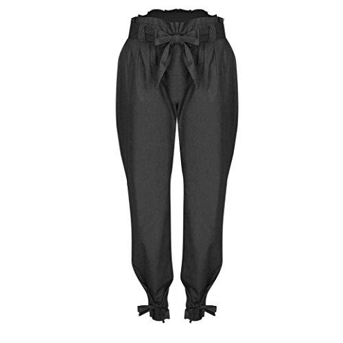 8d08bc5cea45 Taille Dame Mode Moderne Bouffant Avec Elégante Haute Jeune Poches Pants  Branché Bowknot Style Casual Bandage Pantalon Latérales Longues Femme Uni  Manche ...