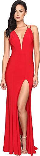 Faviana Women's Jersey V-Neck/Adjust Back & Slit Skirt 7920 Red Dress