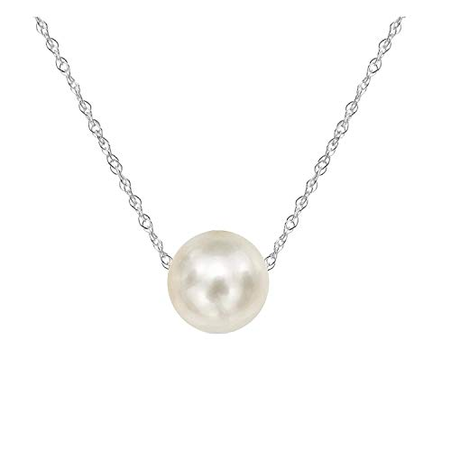 Amelery Pearl Necklace Silver White Simulated Single Pendant Pearl 9-10mm 925 Solid Sterling Silver Singapore Chain 18'' Necklaces for Women - Faux Pearl Drop Necklace
