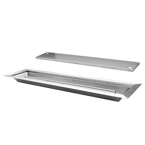 Skyflame Linear Stainless Steel Drop-In Fire Pit Pan and Burner with Burner Cover, 30 by 6-Inch