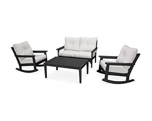 POLYWOOD Vineyard Rocking Chair Set, Black/Bird's Eye