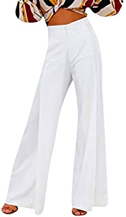 Women's Fashion High Waist Casual Solid Wide Leg Palazzo Lounge Pants Comfy Stretch Work Cocktail Party Lo