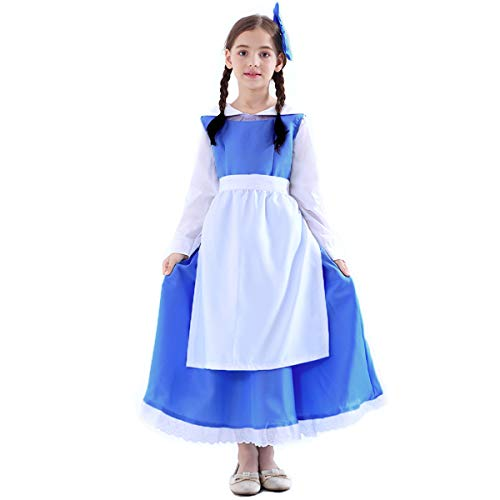 Girls Blue Belle Village Dress Maid Outfit Cosplay Costume,Large