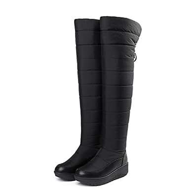 Amazon.com | T-JULY Winter Women Middle Heel Round Toe
