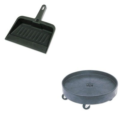 KITRCP2005CHARCP2650BLA - Value Kit - Rubbermaid-Black Universal Drum Dolly (RCP2650BLA) and Rubbermaid-Chrome Heavy Duty Dust Pan (RCP2005CHA) by Rubbermaid