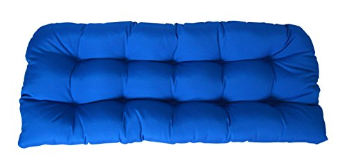 (RSH Décor Indoor ~ Outdoor Sunbrella Tufted Wicker Loveseat Cushion ~ Choose Color (Canvas Pacific Blue))