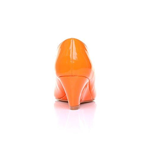 Pumps mit Zehenöffnung Honey, orangefarben, PU-Leder, mittelhoher Keilabsatz Orangefarbenes Lackleder