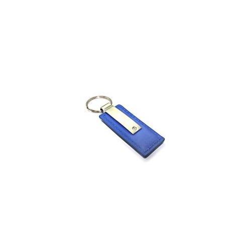 Genuine Blue Leather Rectangular Silver Acura Logo Key Chain Fob Ring