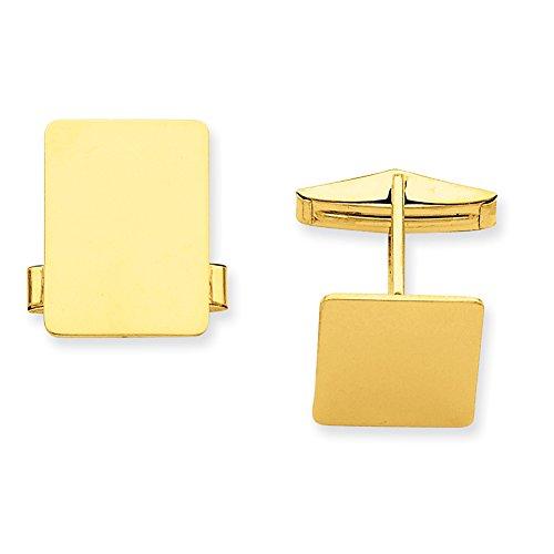 Yellow Gold Rectangular Cufflinks (14k Yellow Gold Rectangular Cuff Links MC251)