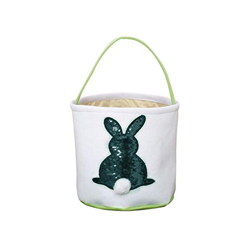 Sunyastor Happy Easter Bunny Bag Easter Bunny Gift Bags for Kids Cloth Easter Eggs/Gift Basket Easter Party Tote Design Cotton Dual Bags for Kids]()