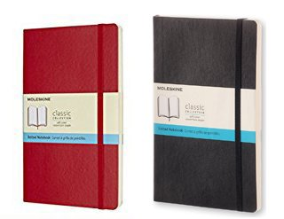 Pack of 2 Moleskine Classic Notebook Large Dot Scarlet Red and Black Softcover (5''x8.25'') by Moleskine