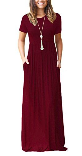 Women's Short Sleeve Casual Loose Pocket Maxi Party Long Dresses Wine Red -