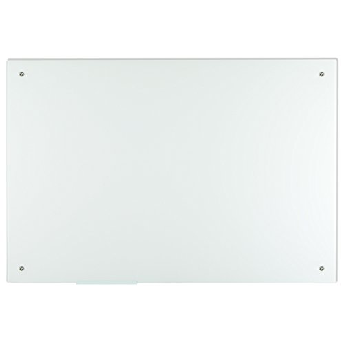 Lockways Glass Whiteboard – Ultra White Glass Board/White Board 60 x 40, Frameless, Whiteboard for Office and School, Clear Marker Tray