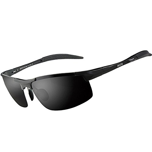 Duco Men's Sports Style Polarized Sunglasses Driver Glasses 8177S (Black Frame,Gray - Sunglass Mens