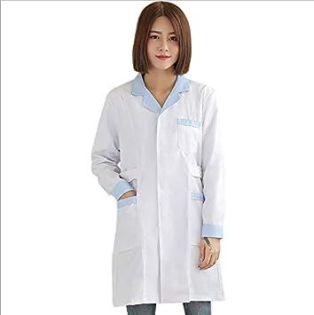 OPPP Ropa médica WICCON Mujeres de Manga Larga Blanca Bata Médica Servicios de Enfermería Uniforme Ropa Médica Bata de Laboratorio Bata de Hospital Ropa ...