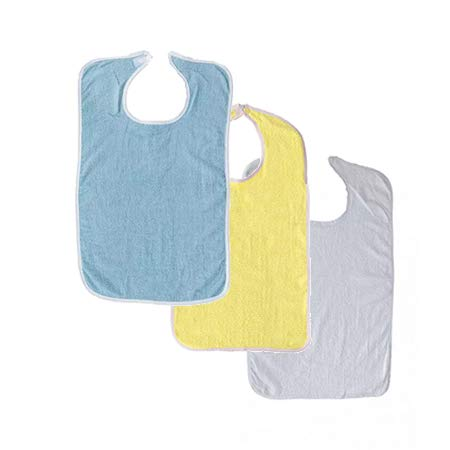 3 Terry Adult Bib with Velcro Closure (Blue, Yellow, White)