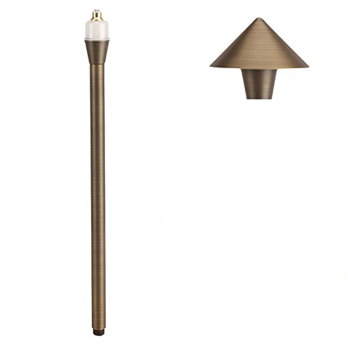 LFU Pandora Brass LED Pathway Light. Built-in LED Stem. Hat Included. Low Voltage. 2700K. Antique Bronze Finished. 4.8W. LF-1001-AB-LED