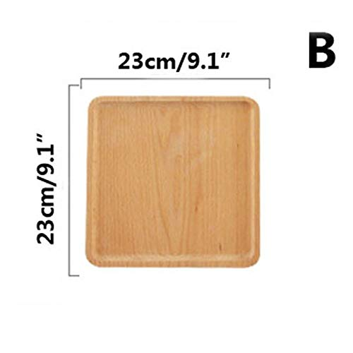 SaveStore 1pcs Square Wooden Dish Tray Durable s Dining Plate Solid Wood Pizza Bread Dessert Fruit platters Gifts for -