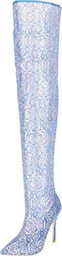 (Cambridge Select Women's Thigh-High Pointed Toe Floral Lace Studded Stiletto High Heel Over The Knee Boot,8 B(M) US,Royal Blue)