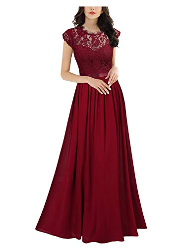Miusol Women's Formal Floral Lace Evening Party Maxi Dress (X-Large, Red)
