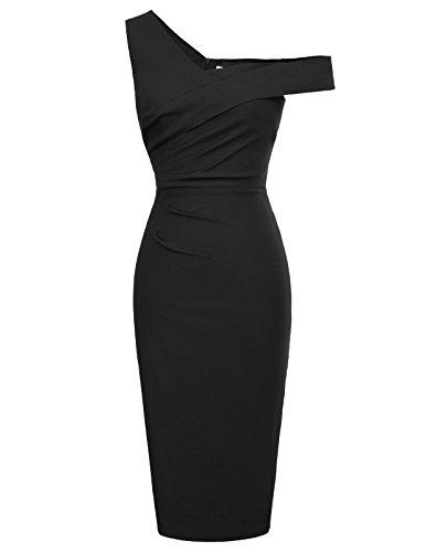 Belle Poque Women Asymmetric Neck Empire Waist Strenchy Pencil Dress Black Size L BP424-1 -
