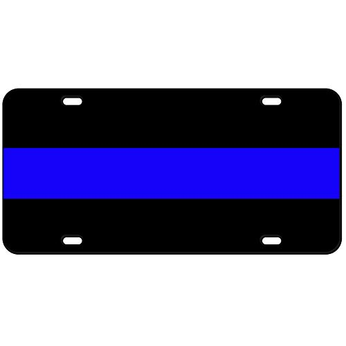 JASS GRAPHIX 2-D Heavy Duty Reflective Thin Blue Line License - 2d Plate Blue