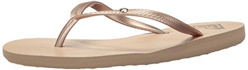 Roxy Women's Bermuda Sandal Flip Flop Gold Cream, 6