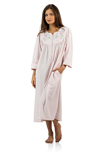 Casual Nights Women's Zipper Front Jacquard Fleece Long Robe Duster - Pink - Large