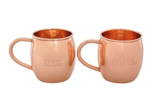 Mr. and Mrs. Copper Barrel Mugs for Moscow Mules - 100% Pure Copper Cups - Etched