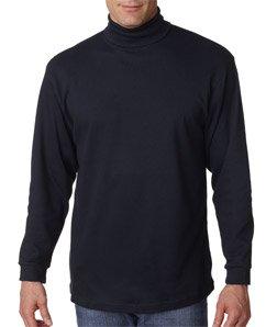 Cotton Interlock Turtleneck Mens (UltraClub Men's Adult Egyptian Interlock Long-Sleeve Turtleneck - Medium- Black)
