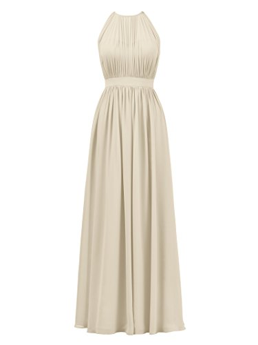 Alicepub Halter Illusion Bridesmaid Dress Chiffon Formal Evening Prom Gown Maxi, Champagne, US24
