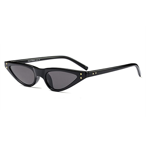 para cateye Cat vintage mujer sol tamaño sol pequeño Gafas Retro Eye de color triángulo gafas negro de de UV400 nqWBXx1H6