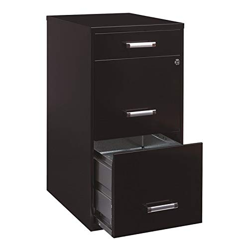 Office Dimensions 18'' Deep 3 Drawer Metal File Cabinet Organizer with Pencil Drawer, Black by Office Dimensions