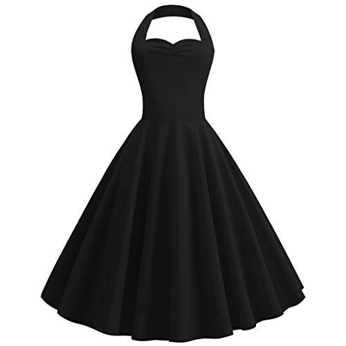 Women's Vintage Polka Dress Halter Sleeveless Dress Floral Spring Dress Retro Rockabilly Dress Cocktail Dress ()