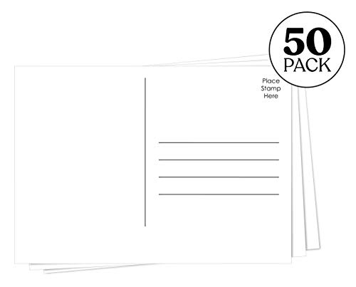 Jot & Mark Design Your Own Postcards | Blank Plain Mailable 5x7 Postcards on Heavy Cardstock (50 Pack)
